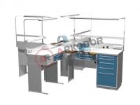 Стол зуботехнический на два рабочих места AR-E32
