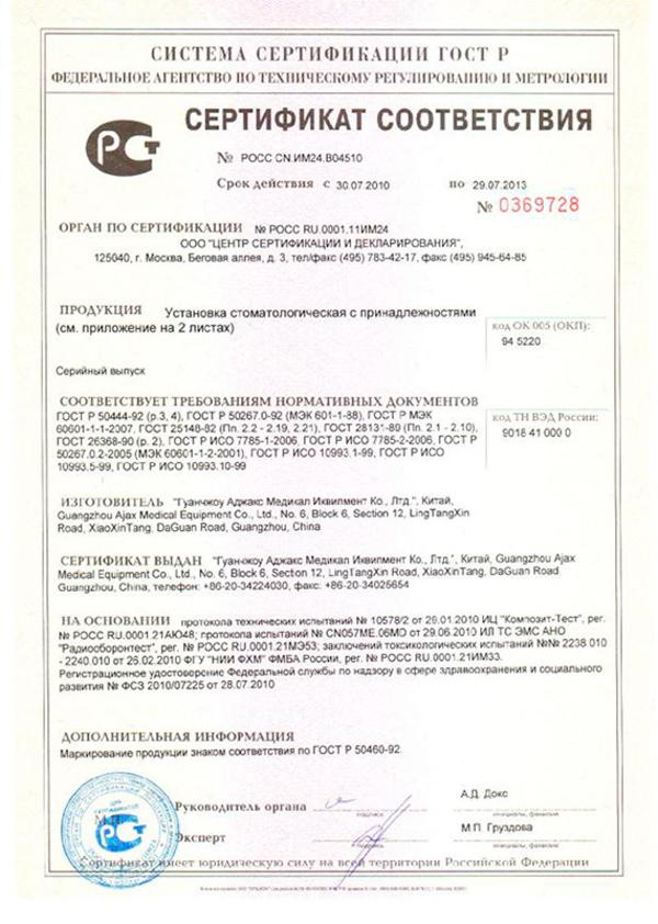 Регистрационное Удостоверение Стоматологическая Установка